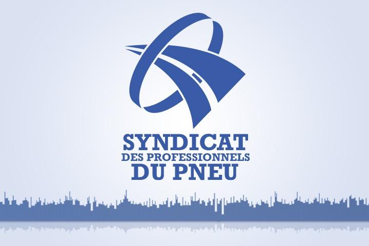 Logo du syndicat des professionnels du pneu surplombant une waveform du podcast