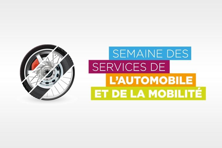Logo de la semaines des service de l'automobile et de la mobilité sur fond cyclo