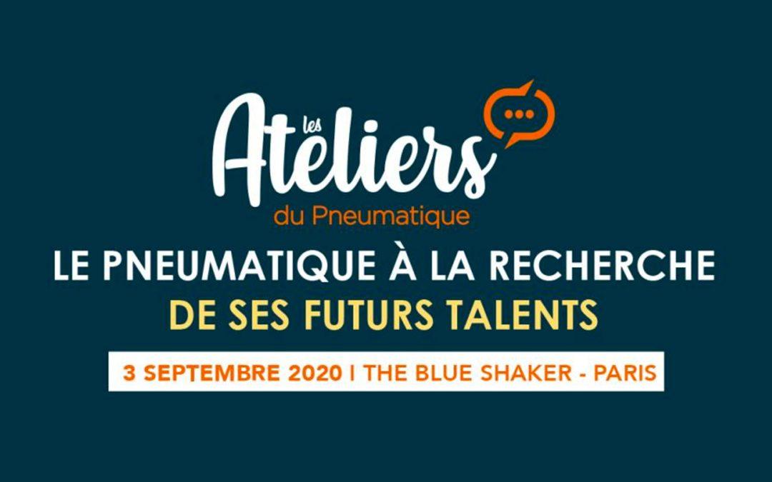 Visuels des Ateliers du pneumatique édition 2020 au blue Shaker à Paris dédiés au recrutement dans le secteur du pneumatique.